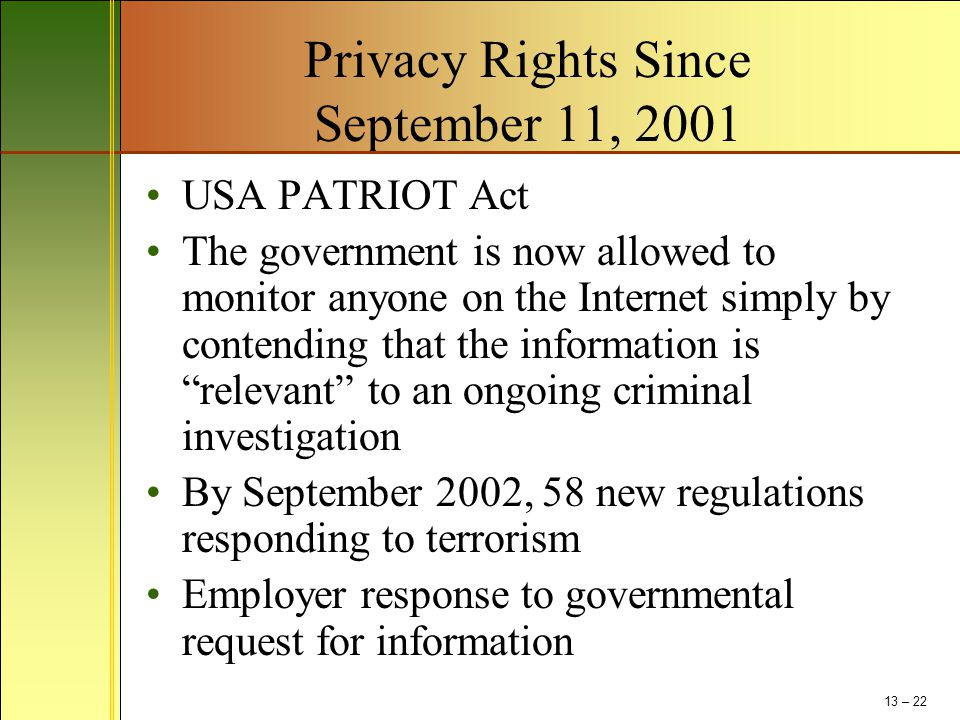 Privacy Rights Since September 11, 2001