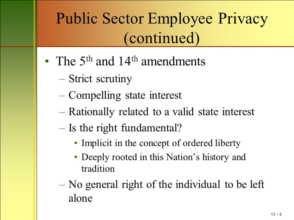 Public Sector Employee Privacy (continued)
