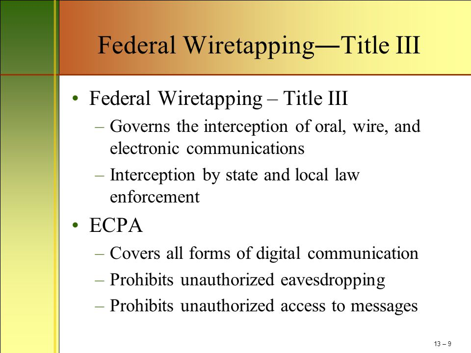 Federal Wiretapping―Title III