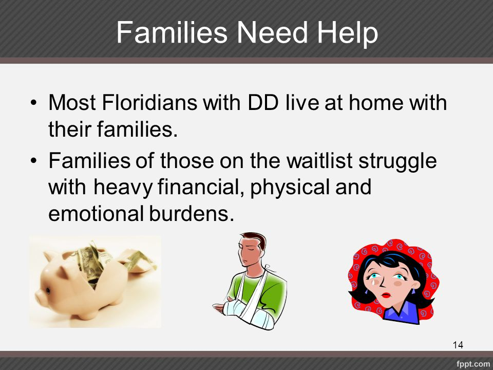 Families Need Help Most Floridians with DD live at home with their families.