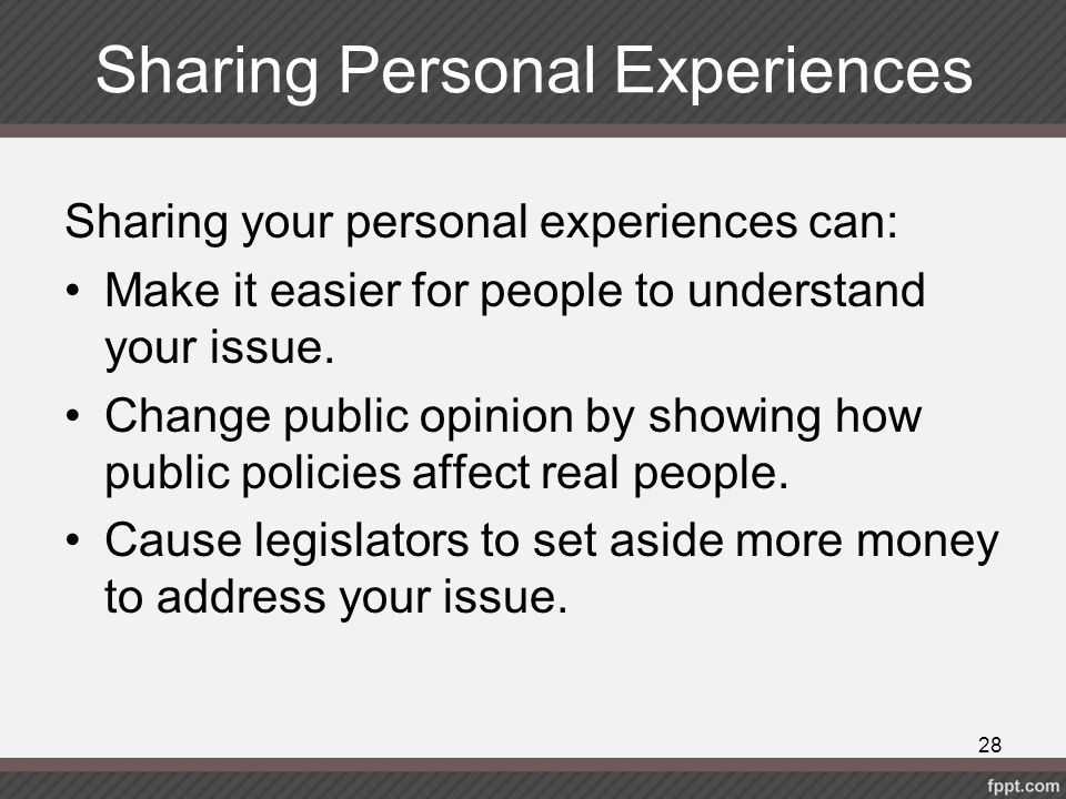 Sharing Personal Experiences