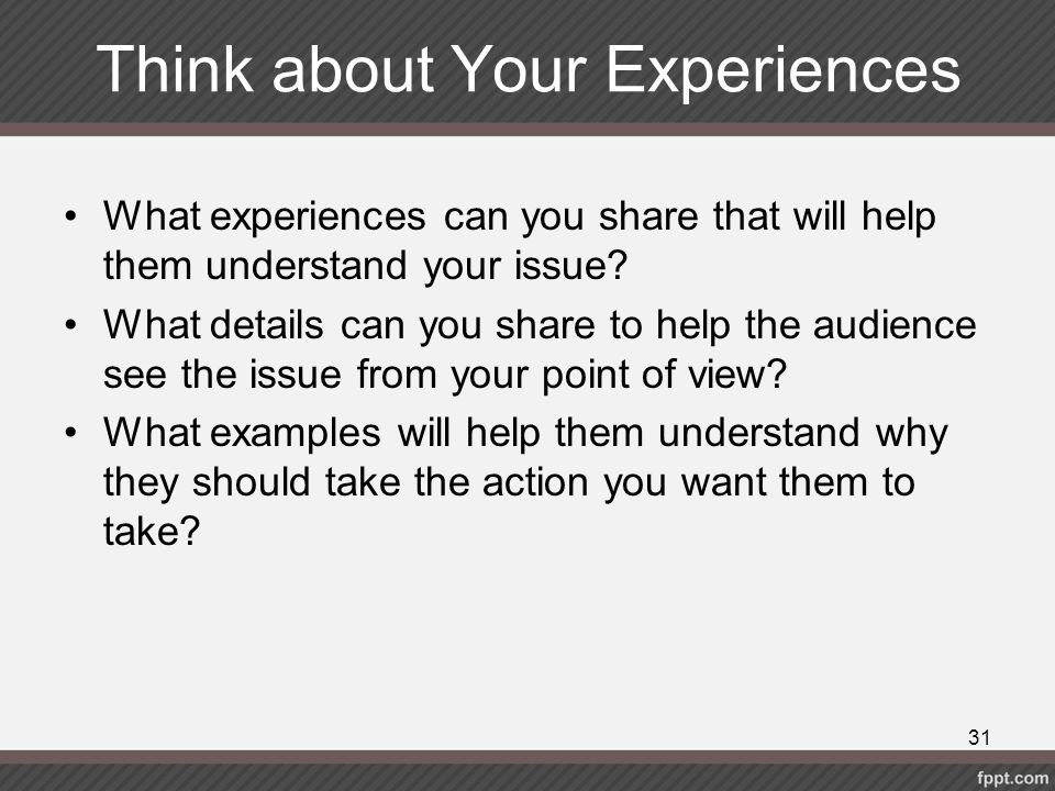 Think about Your Experiences