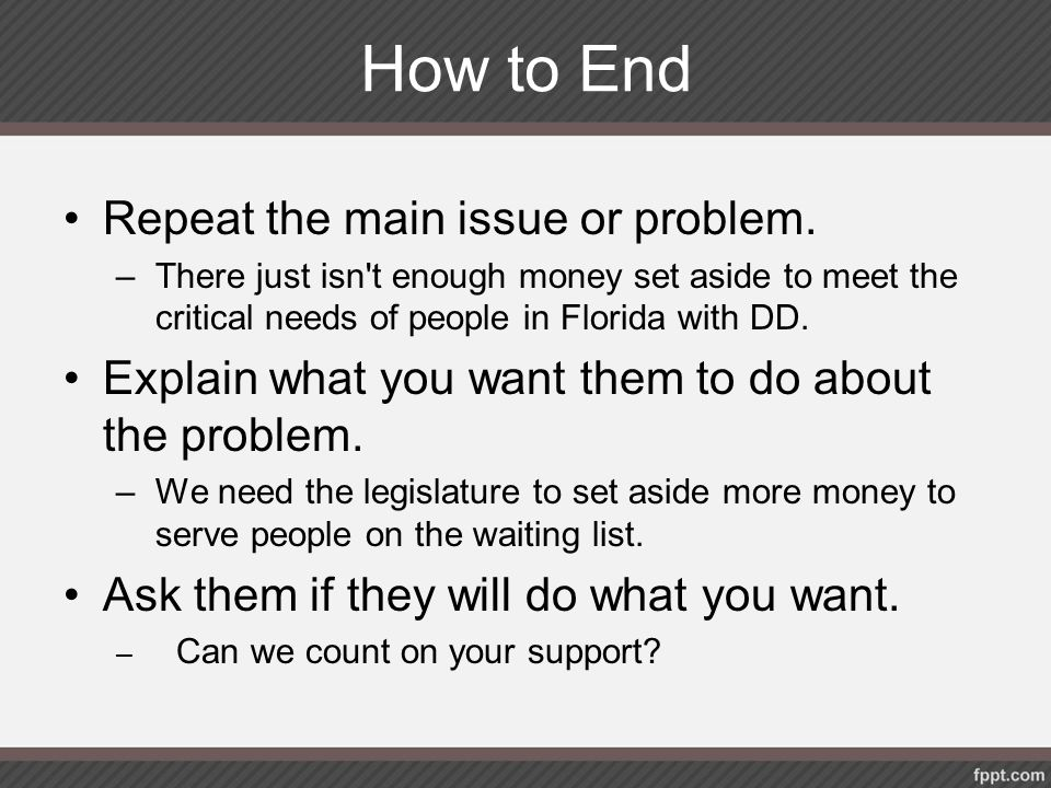 How to End Repeat the main issue or problem.