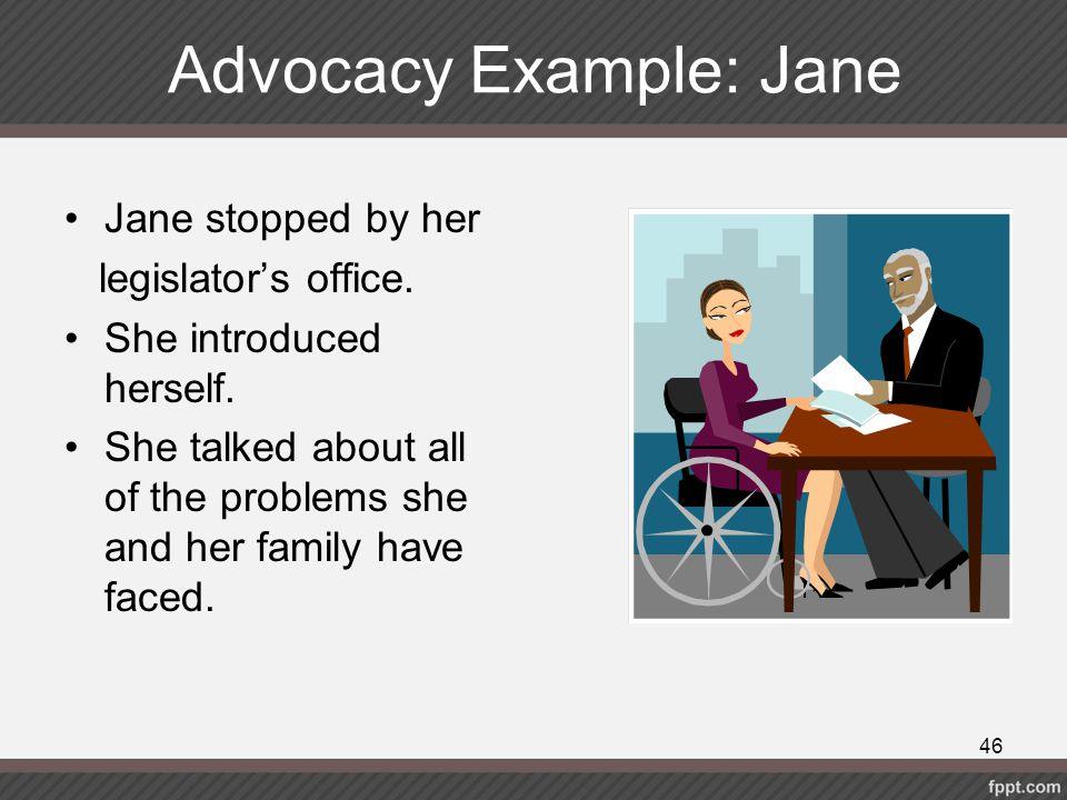 Advocacy Example: Jane