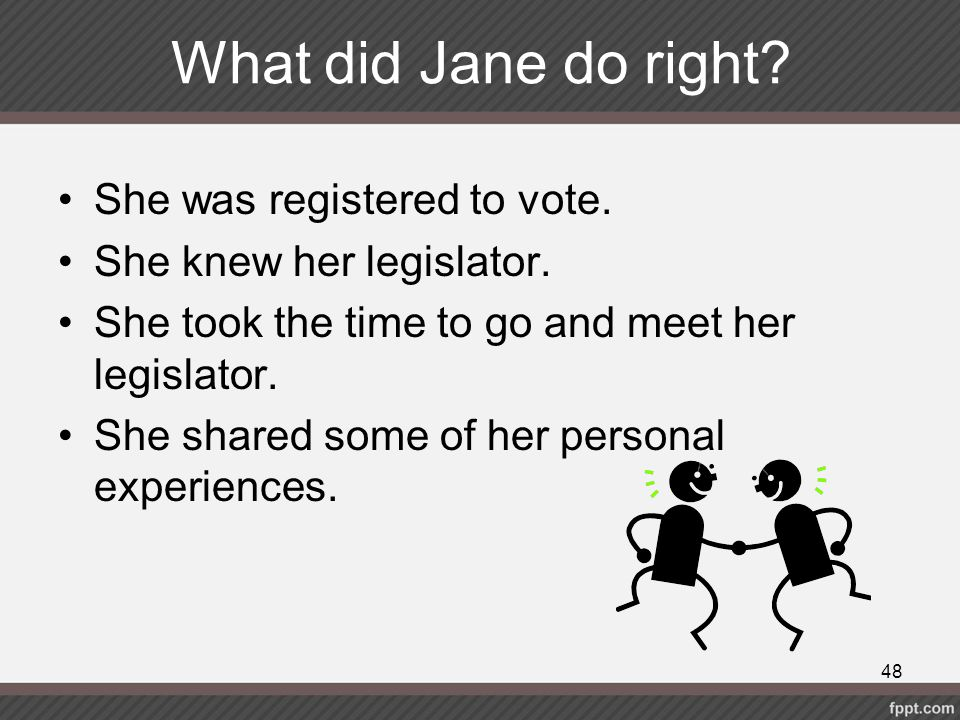 What did Jane do right She was registered to vote.