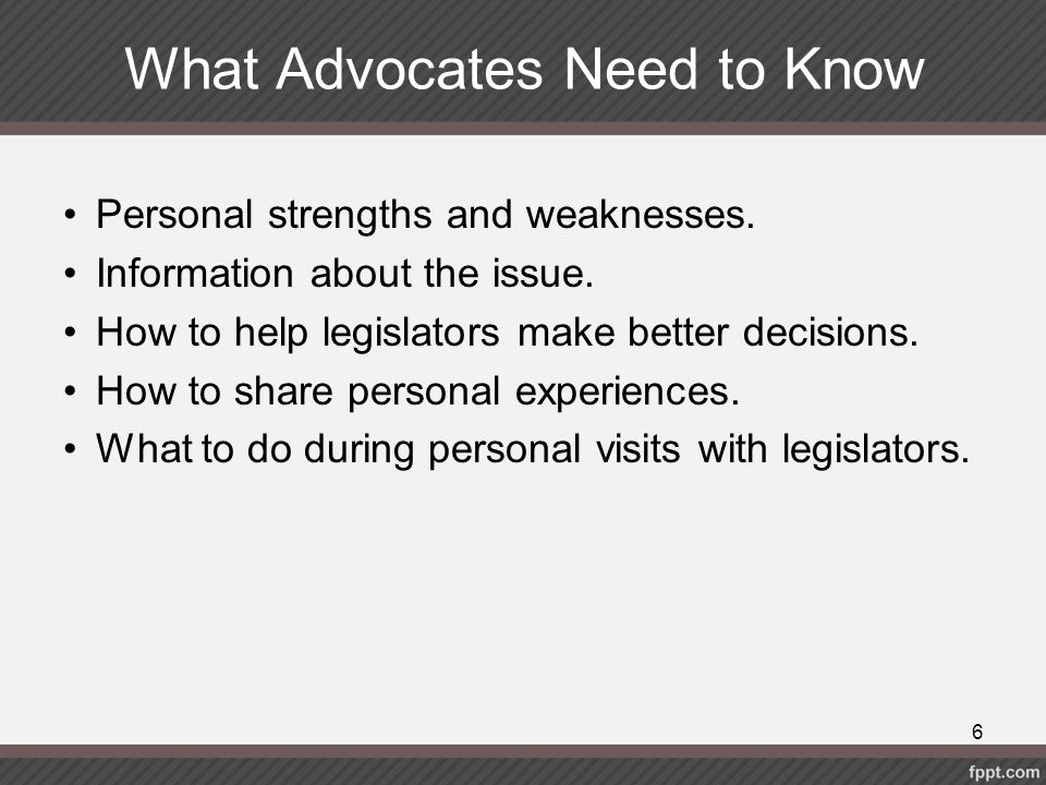 What Advocates Need to Know