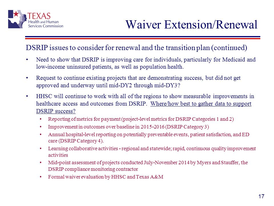 Waiver Extension/Renewal