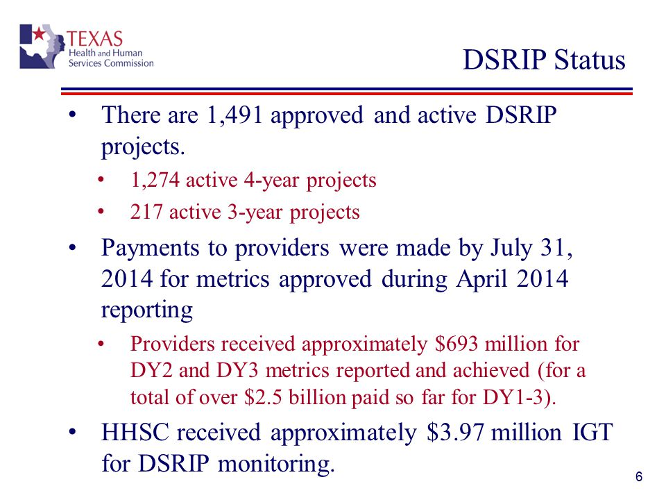 DSRIP Status There are 1,491 approved and active DSRIP projects.