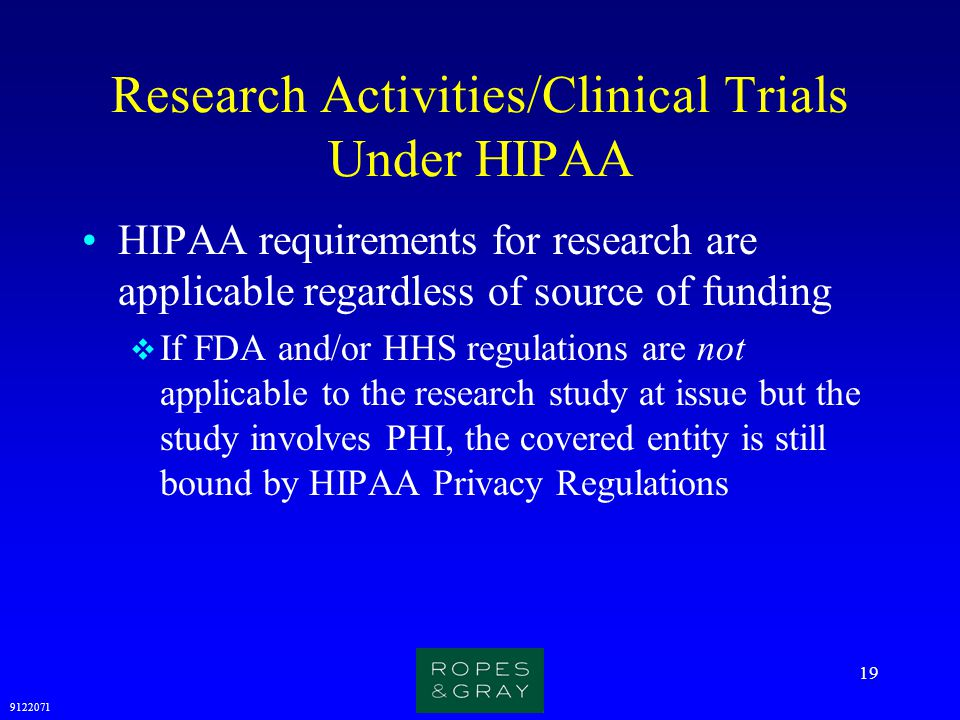 Research Activities/Clinical Trials Under HIPAA
