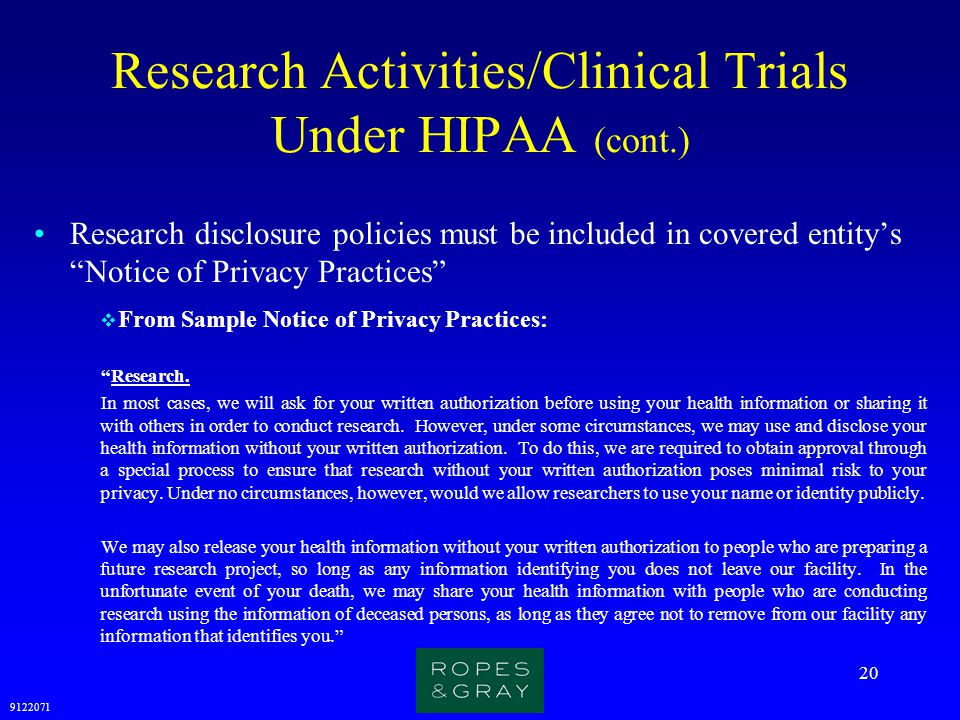 Research Activities/Clinical Trials Under HIPAA (cont.)