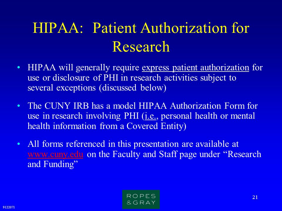 HIPAA: Patient Authorization for Research