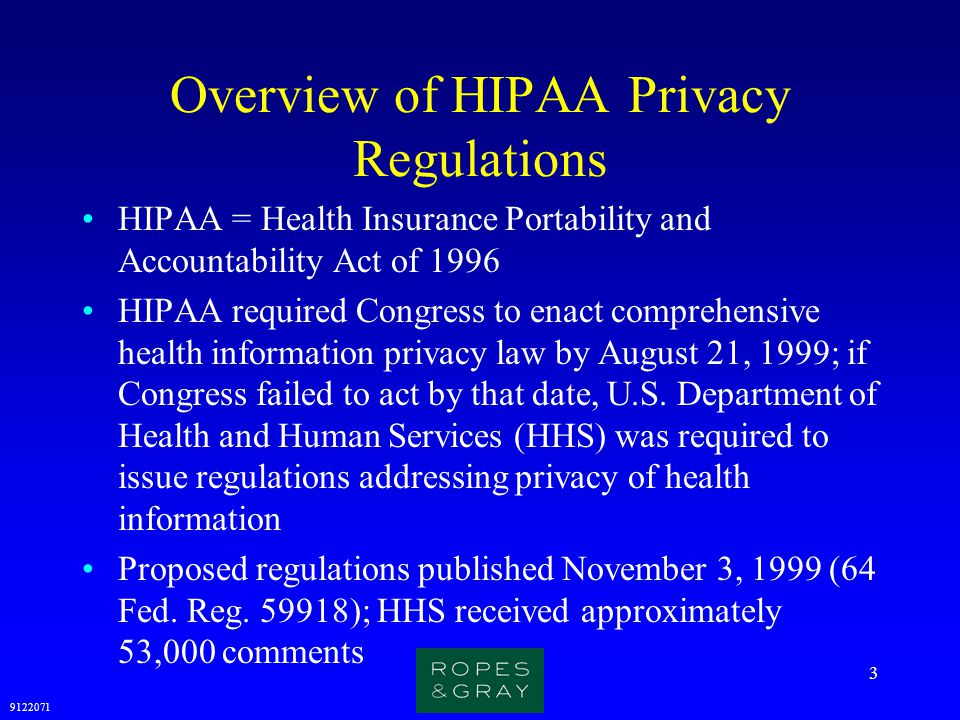 Overview of HIPAA Privacy Regulations
