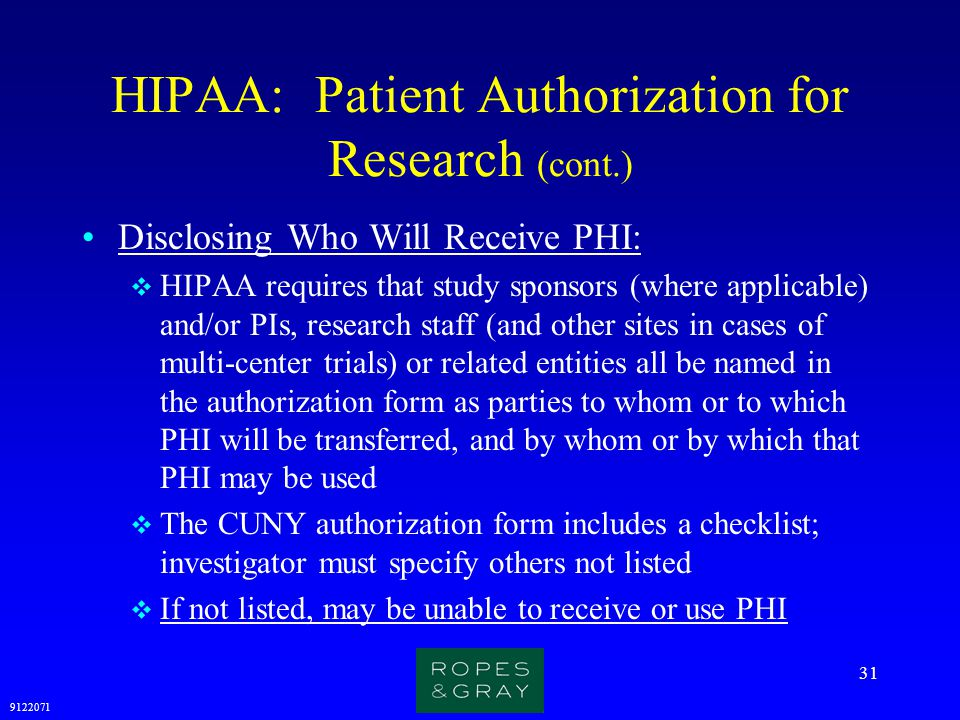 HIPAA: Patient Authorization for Research (cont.)