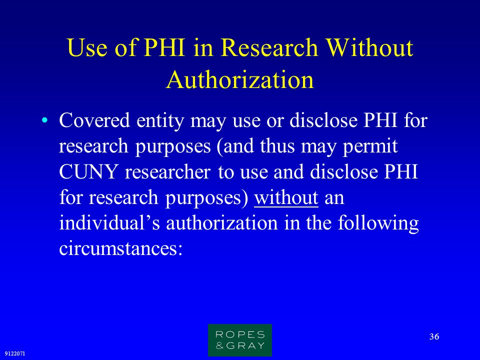 Use of PHI in Research Without Authorization