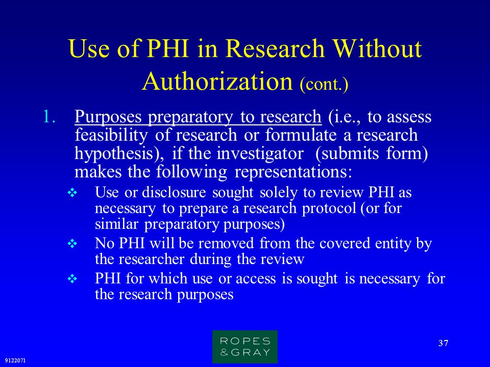 Use of PHI in Research Without Authorization (cont.)