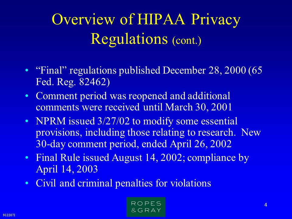 Overview of HIPAA Privacy Regulations (cont.)