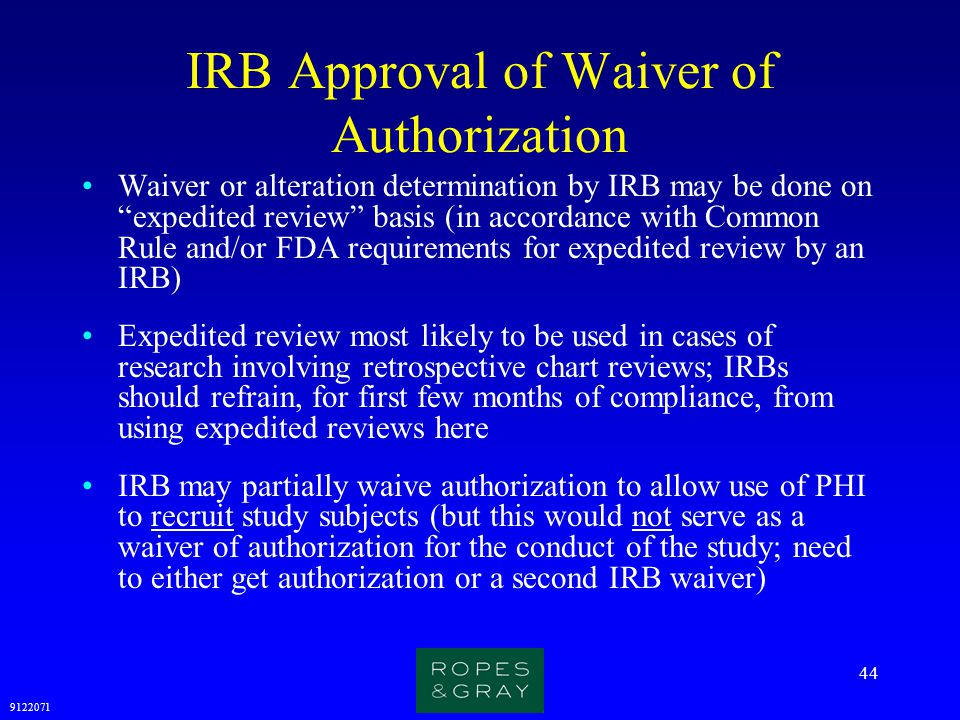 IRB Approval of Waiver of Authorization
