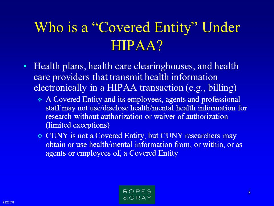 Who is a Covered Entity Under HIPAA