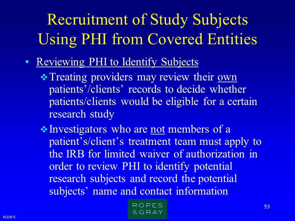 Recruitment of Study Subjects Using PHI from Covered Entities