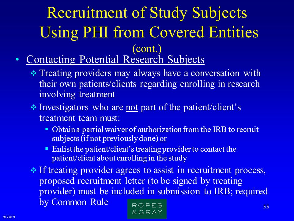 Recruitment of Study Subjects Using PHI from Covered Entities (cont.)