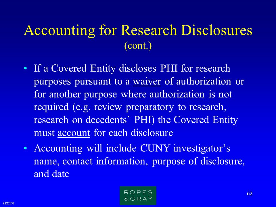 Accounting for Research Disclosures (cont.)