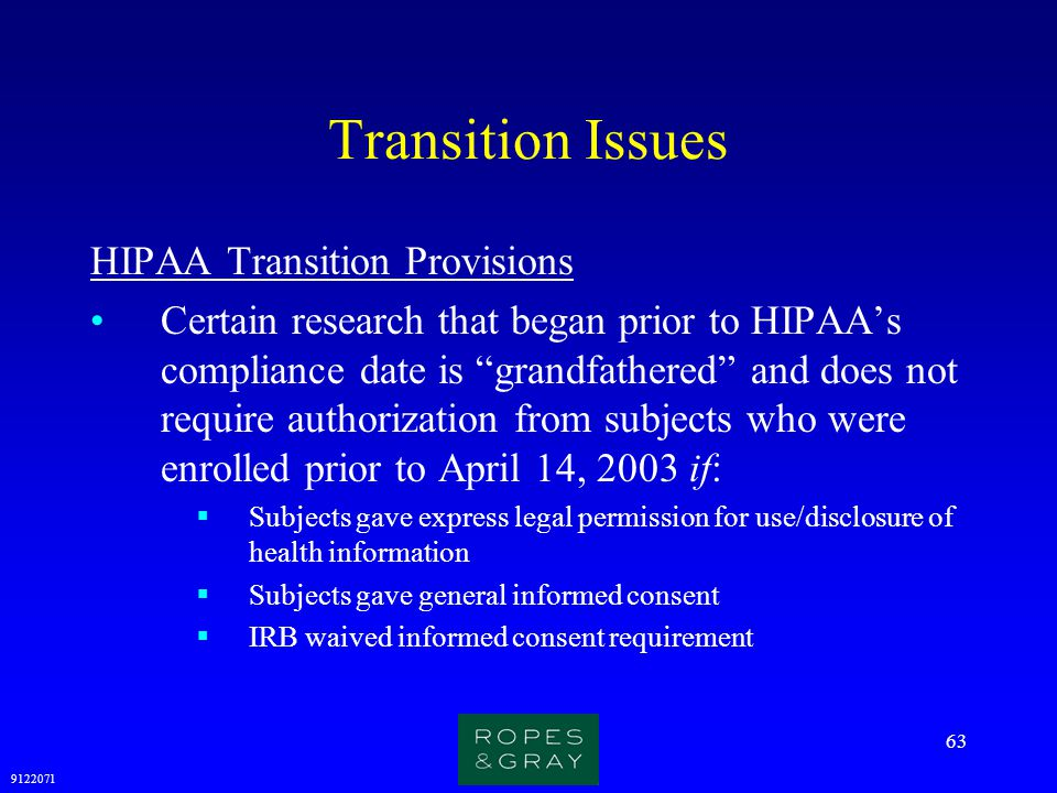 Transition Issues HIPAA Transition Provisions