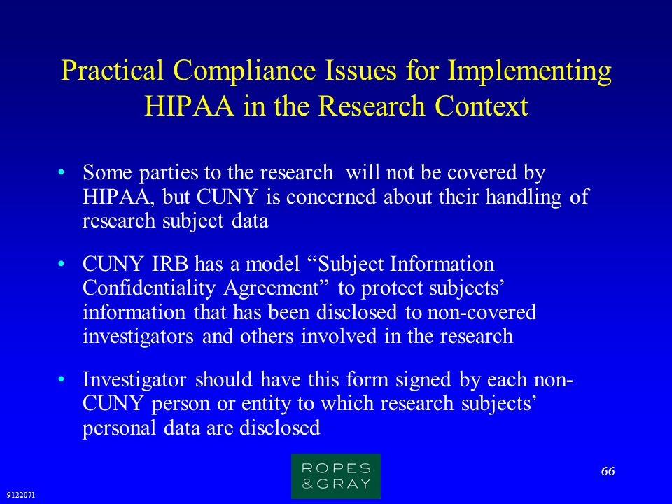 Practical Compliance Issues for Implementing HIPAA in the Research Context
