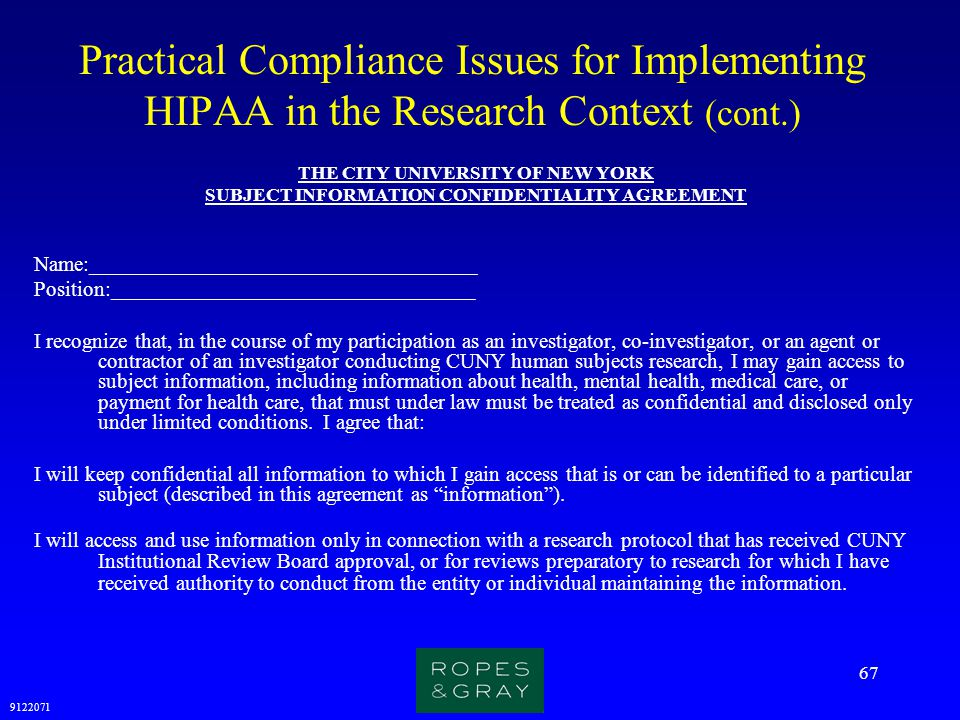 Practical Compliance Issues for Implementing HIPAA in the Research Context (cont.)