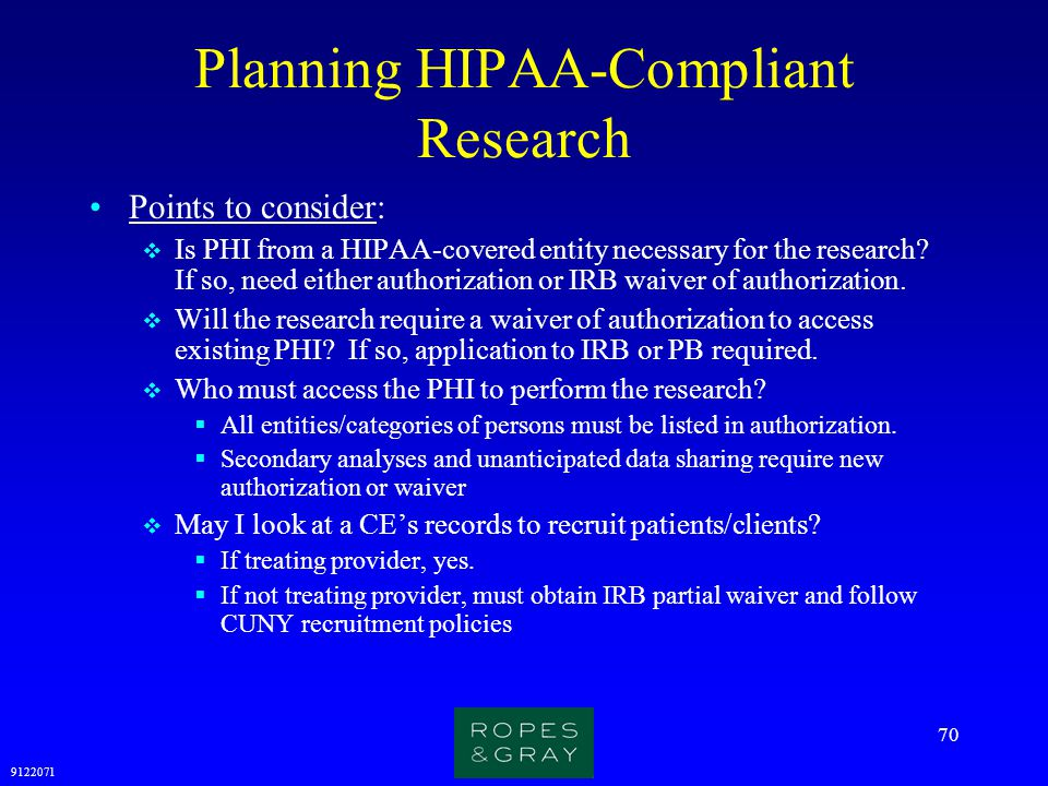 Planning HIPAA-Compliant Research