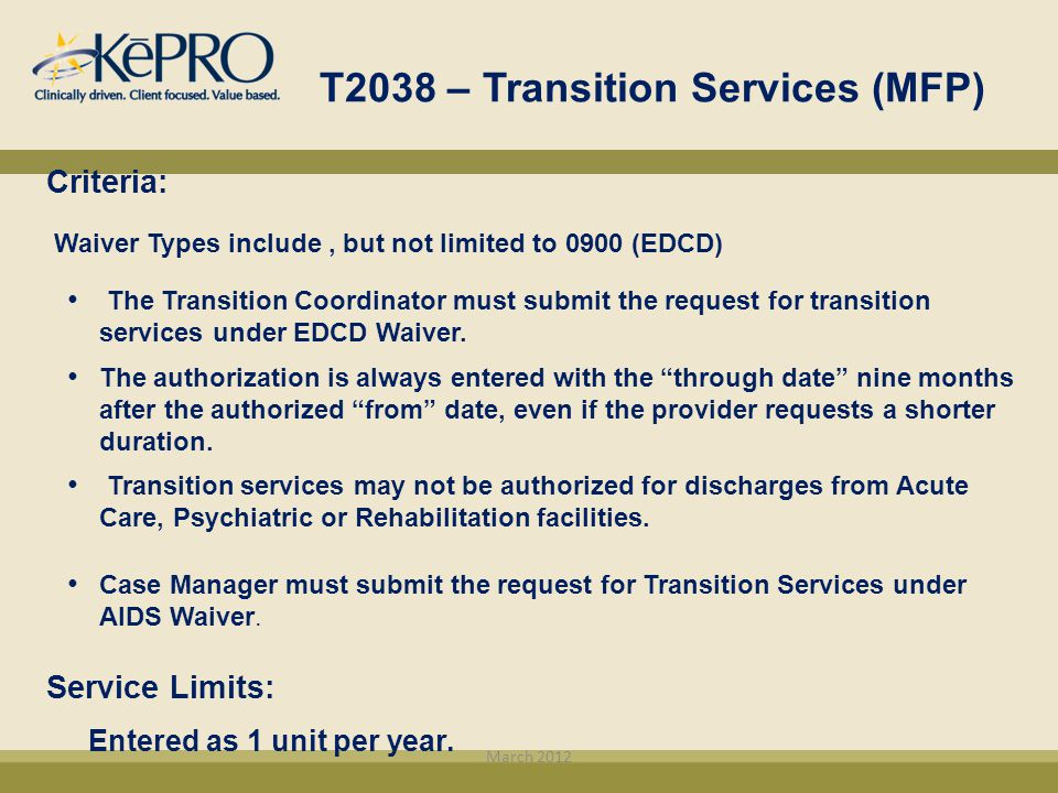 T2038 – Transition Services (MFP)
