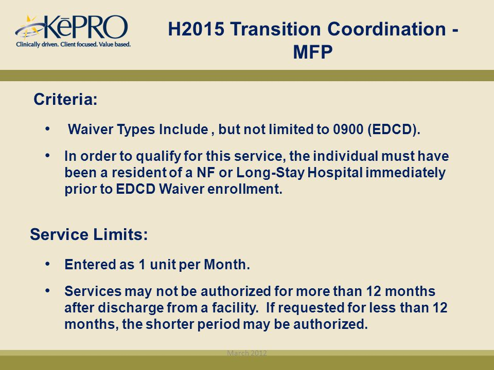 H2015 Transition Coordination - MFP