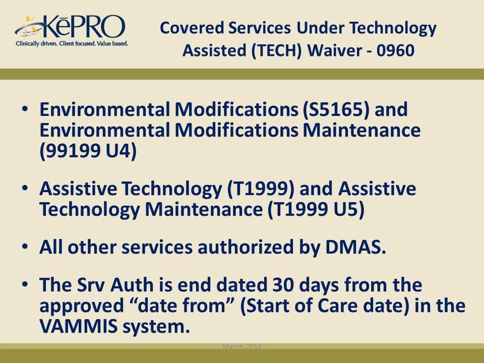 Covered Services Under Technology Assisted (TECH) Waiver - 0960