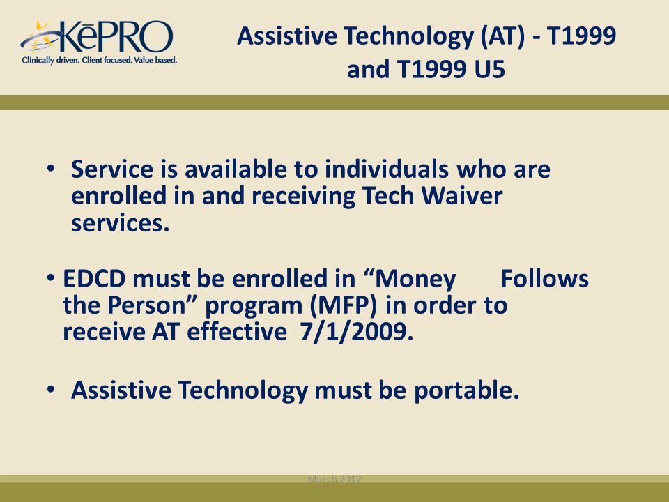Assistive Technology (AT) - T1999 and T1999 U5