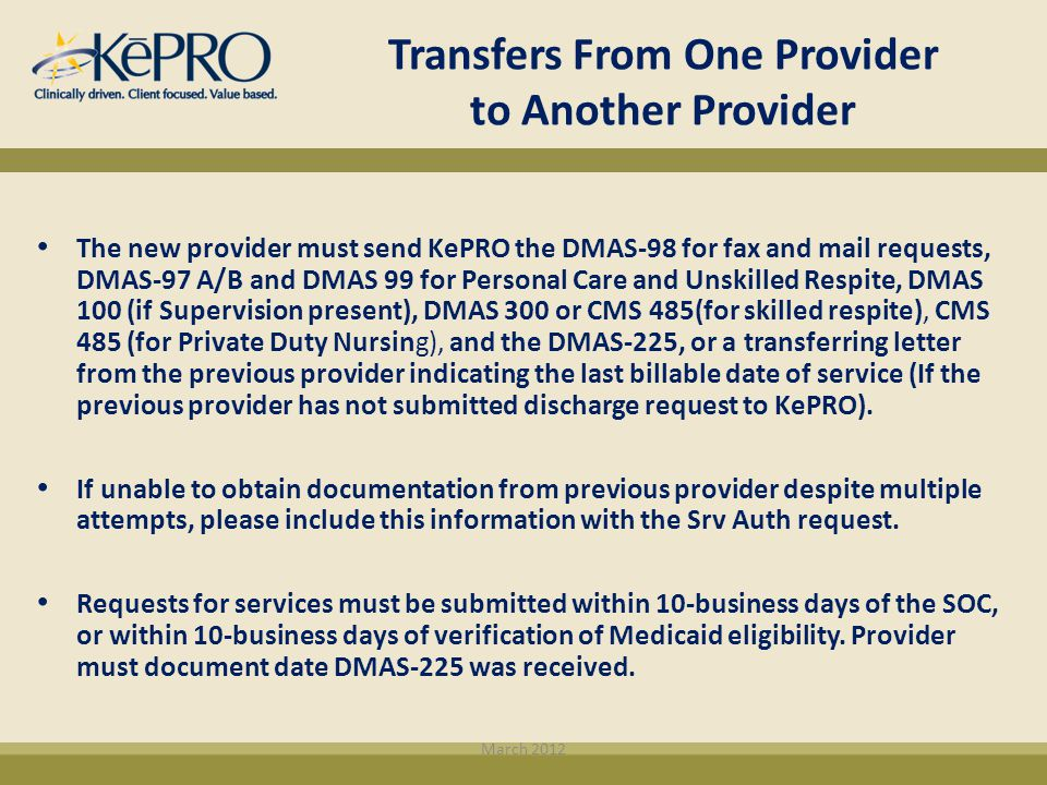 Transfers From One Provider to Another Provider