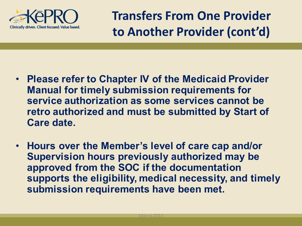 Transfers From One Provider to Another Provider (cont'd)