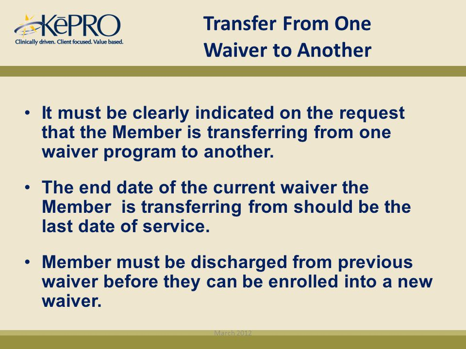 Transfer From One Waiver to Another
