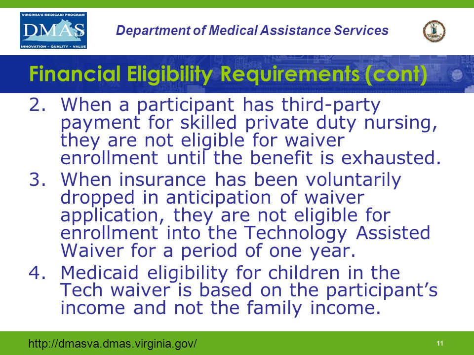 Financial Eligibility Requirements (cont)