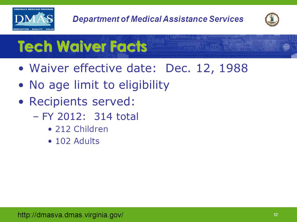 Tech Waiver Facts Waiver effective date: Dec. 12, 1988