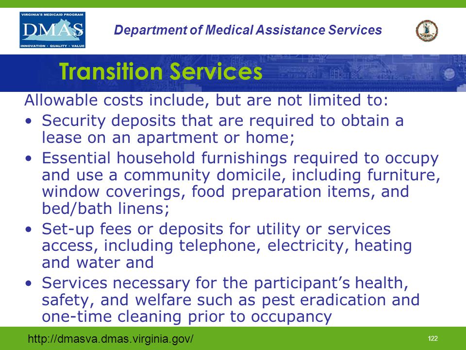 Transition Services Allowable costs include, but are not limited to: