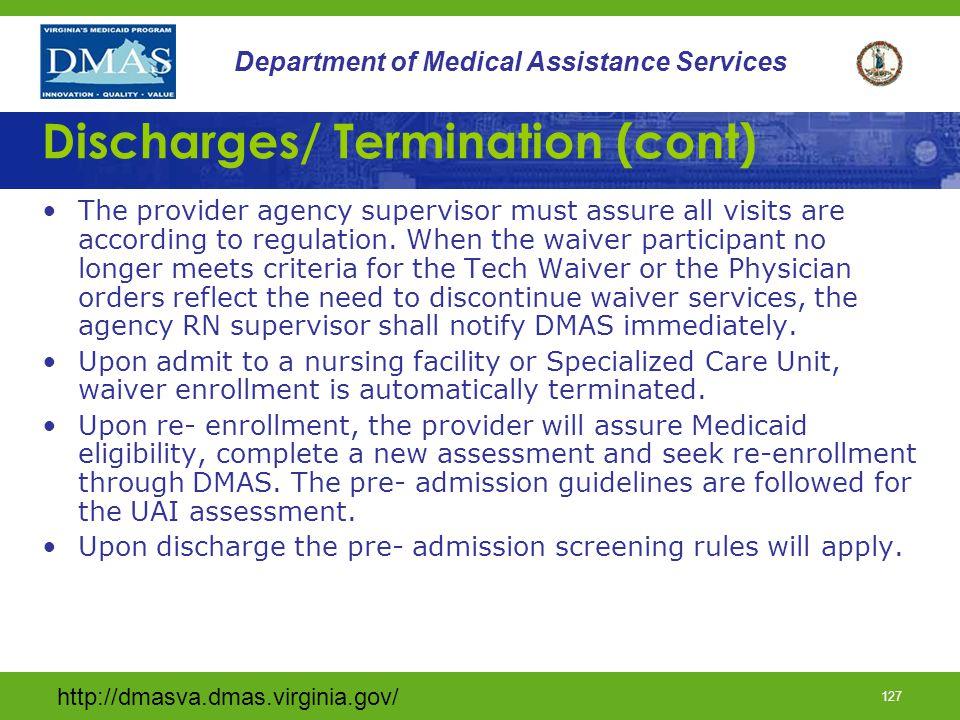 Discharges/ Termination (cont)