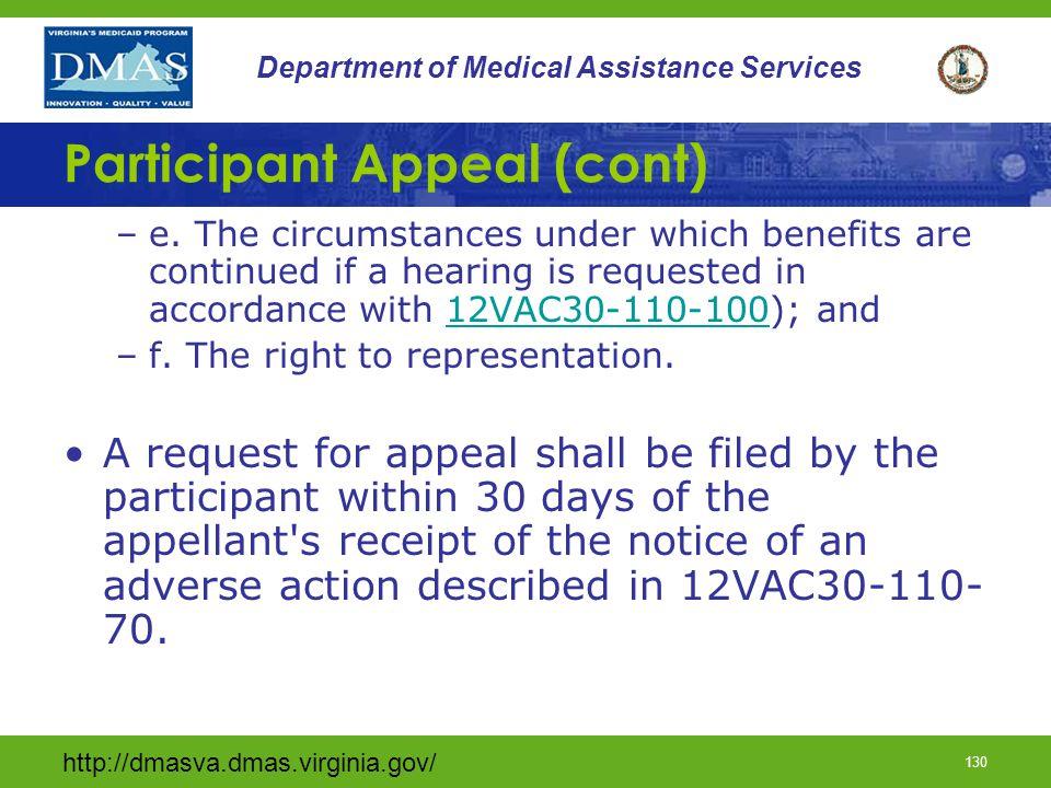Participant Appeal (cont)