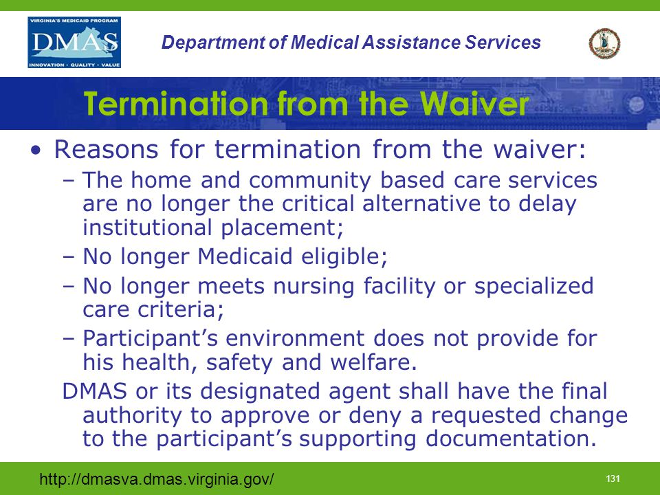 Termination from the Waiver