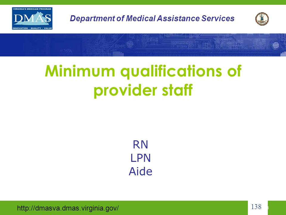 Minimum qualifications of provider staff