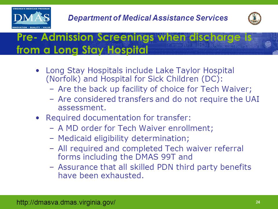 Pre- Admission Screenings when discharge is from a Long Stay Hospital