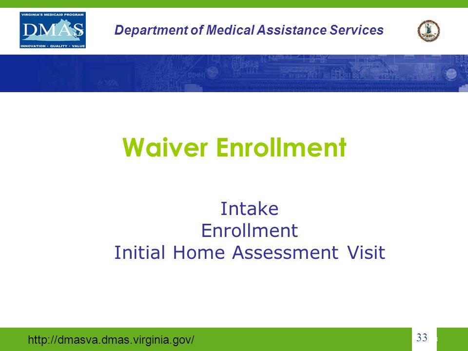 Intake Enrollment Initial Home Assessment Visit