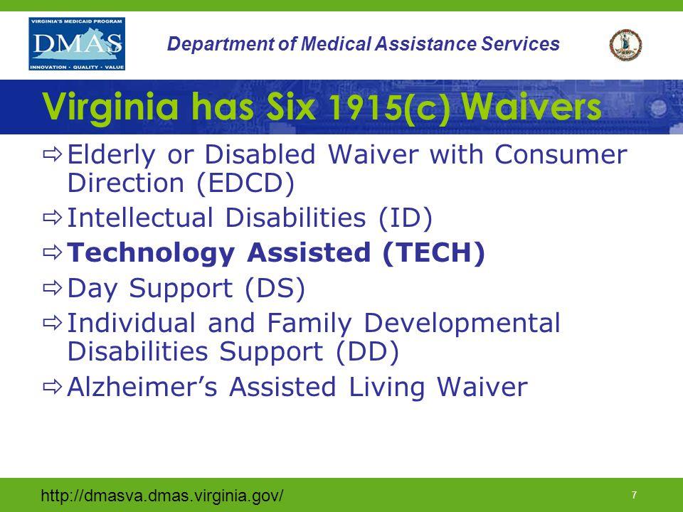 Virginia has Six 1915(c) Waivers