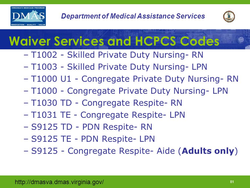 Waiver Services and HCPCS Codes