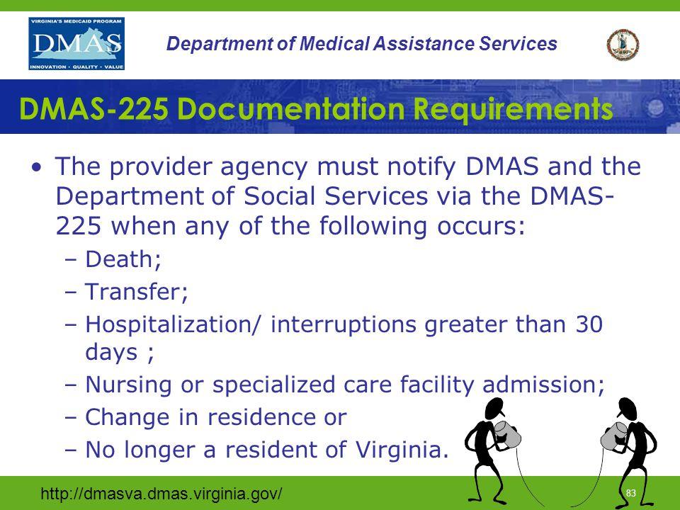 DMAS-225 Documentation Requirements