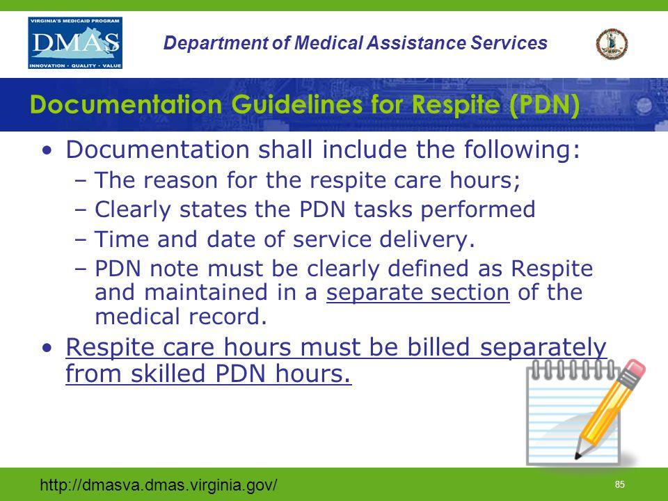 Documentation Guidelines for Respite (PDN)