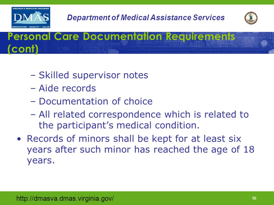 Personal Care Documentation Requirements (cont)